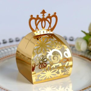 20 50 100pcs Gold Wedding Party Favor Box Gift Bags Rose Laser Cut Hollow Candy Dragee Baptism Chocolate Packaging Box Paper