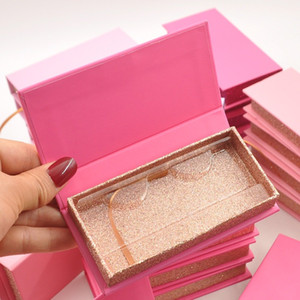Wholesale Eyelash Packaging Box Lash Boxes Package Custom Book Style Magnetic Red Glitter 3d Mink Lashes Makeup Storage Case Vendors
