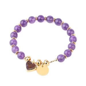 Natural Crystal Stone Charm Bracelets Heart Druzy Bead Reiki Pink Quartz Gold Color Women Bracelet Trendy Jewelry Gift