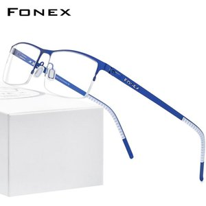 FONEX Alloy Glasses Frame Men Square Myopia Prescription Optical Eyeglasses 2020 New Metal Half Korean Screwless Eyewear 992