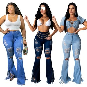 Womens Tassel Split Flare Jeans Frowed Hole High Skinny Jeans Solid Pantaloni solidi