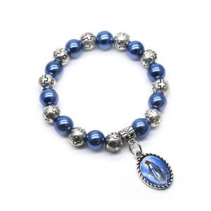 Gioielli religiosi Virgin del pendente dell'annata di plastica Croce Perline filo della perla Bracciale Uomo Donna Per