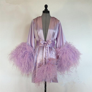 Purple Short Women Cloak Feather Bride Sleepwear Robes 2020 Custom Made Long Sleeves Dressing Gown Women Robe Wedding Wraps Jacket Dresses