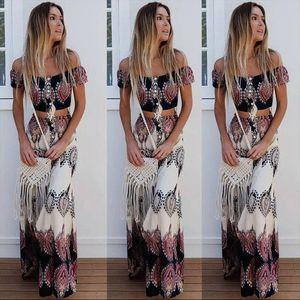 2018 Boho Print Summer Women Sexy Strapless Two Piece Set Slash Neck Short Sleeve Crop Tops amp;Long Skirts Beach Maxi Skirts Suit