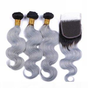 Brazilian Silver Cinzento Ombre Humano Weaves WEAVES COM TOP Fechamento Body Wave 2tone 1B Cinza Ombre 4x4 Lace Fechamento com 3Bundles 4 Pcs Lot