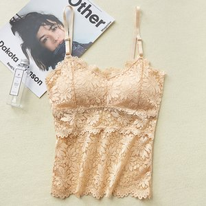 3Pieces Lot Women Lace Top Camisoles Padded Tanks Top Comfortable Underwear Lace Bralette Cropped Camis Top