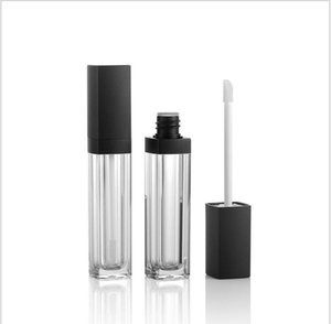 5ml square shape transparent lip cream tube gloss with black lid for oil lip cosmetic packing