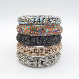Rainbow Rhinestone crystal Padded Headbands For Women Girls Luxury Thick Full Diamond Sponge Hairbands Lady Crystal Hair jewelry Gift