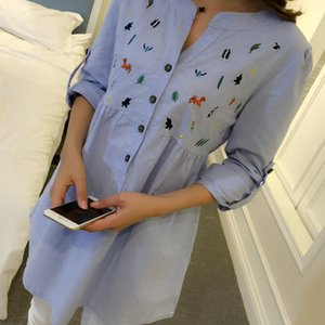 Waist Pleated Embroidery Cotton Maternity Shirt Summer & Spring Blouse Tops Clothes for Pregnant Women Pregnancy Clothing