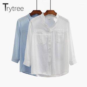 Trytree Primavera Verão Mulheres Blusa Casual Camisa Camisa Coloque Colarinho Branco Tops Roupas Casual Sólido Camisas1