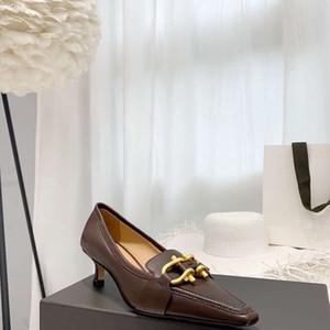 2019120501 40 marrón blanco negro hebillas gatito talones de los zapatos de trabajo señoras forma puntiaguda 4cm
