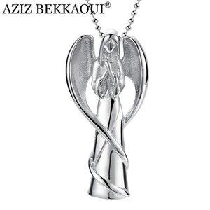 AZIZ Bekkaoui Gravez Nom d'aile d'ange inoxydable Tenir Bijoux Crémation acier Aimés cendres Keepsake Crémation Urne Collier