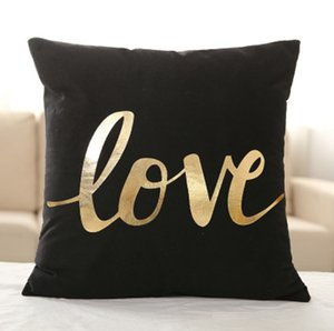 Supersoft Velvet Bronzing Pillow Cover Cushion Cover Home Decor gold stamp Pillow Decorative Throw Pillows LOVE Pillow Case