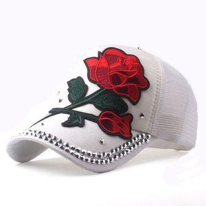 [YARBUU] Brand New Rose Baseball Caps Women Snapback Cap Summer paste flower net cap rhinestone hat Spring Hip Hop Hats Bone 201019