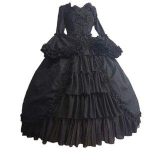 중세 레트로 고딕 코트 드레스 로얄 레이디 공 드레스 스퀘어 넥 꽉 허리 Bowknot 여성 우아한 의상 Vestido Ropa Muj C0122