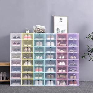 Kalınlaşmak Temizle Plastik Ayakkabı Kutuları toz geçirmez Ayakkabı Saklama Kutusu Ayaklı Şeffaf Ayakkabı Kutuları Şeker Renk istiflenebilir Ayakkabı Organizatör Kutusu BWC2653