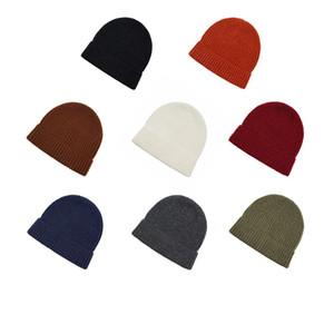 2020 Fashion Herbst-Winter-warme Wollmütze Fest Farbe Hip-Hop-Wollmütze Leder Straße Elastic Strickmütze 8 Farben T3I51213
