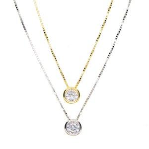 2018 mais recente pedra colar único bem delicada cadeia de caixa de 925 5 milímetros aro prateado Sparking cúbicos zircônia simples jóia