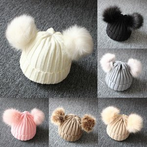 2020 Brand New Newborn Baby Kids Girls Boys Winter Warm Knit Hat Furry Balls Pompom Solid Warm Cute Lovely Beanie Cap Gifts