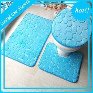 anti-slip polyester 3 pieces bathroom mat set