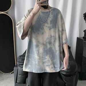 Tie-dye T Shirt Men's Fashion Casual O-neck Cotton Camo T-shirt Men Streetwear Wild Loose Short-sleeved Tshirt Mens Tops Summer