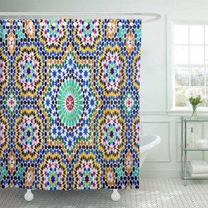 Muster von Mosaic im marokkanischen Fliesen orientalischer Verzierungen aus Duschvorhang wasserdichten Polyester-Gewebe 72 x 72 Inches Set X1018