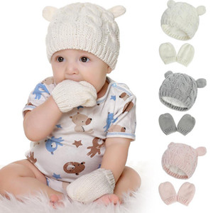 Baby Hat Mittens Set Knitted Girls Beanie Cap Gloves 2pcs Winter Warm Boys Pompom Hats Fashion Accessories 4 Colors DW6068