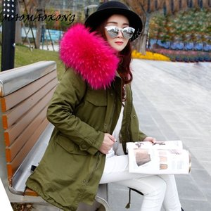 Long Winter Jacket Women Large Raccoon Fur Hooded Coat Parkas Outwear Detachable Lining Fashion Brand Free DHL Shipping 201014