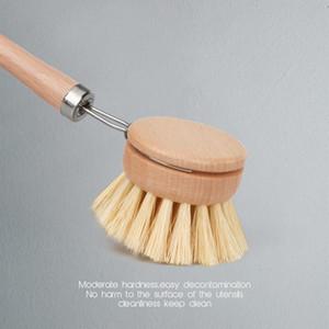 Natural de madera de mango largo Pan Pot Cepillo lava del plato Cuenco de recambio de cepillo de limpieza cabezas de cepillo de limpieza del hogar cocina Herramientas GGE1821