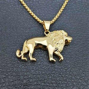 Edelstahl-Löwe-Halskette für Frauen / Männer, Goldfarben-Lions-Kopf-Anhänger Tierschmucksachen, Afrika Lion Ethiopian bestes Geschenk 201014