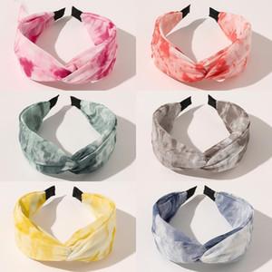 Tie Dye en mousseline de soie satin Croix Hairband Bandeau pour les femmes Filles Accessoires cheveux