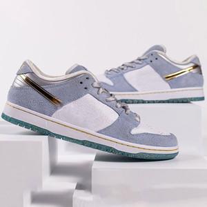 2020 New Designer Sean Cliver x SB Dunks baixos homens Shoes corrente dourado brilhante prata Satin Lace Grey mulheres Dunk skate esportes Sneakers