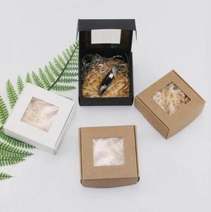 SOAP Paper Box Складной Kraft Paper Box Roast Arts Хранения Коробки картона Картон Картон DIY Мыло Подарочная Упаковка с прозрачным окном GWC4968