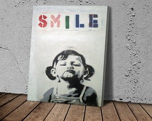 HD Print Banksy Smile Girl Canvas Art Picture for Living Room Home Decor