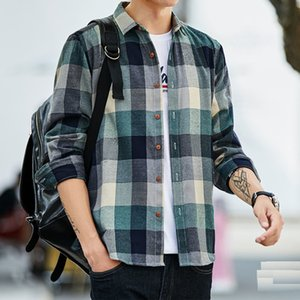 Plaid shirt Men long Sleeve Shirt Casual Social Slim Shirt male Cotton Mens Dress Shirts 4XL 5XL Legible 201013