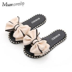 Mumoresip cálido verano sandalias zapatillas para niños grandes Big Girl sandalias de diapositivas con el arco grande nudos mamá-hija a juego Familia Zapatos C1002