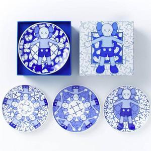 4Piece / مجموعة كوس HOLIDAY تايبه الحد الشاي الصحون صحون الخزف الأزرق والأبيض الشاي لوحة الخزف صحن