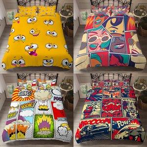 Homesky edredón historieta cómica cubiertas de almohada Individual Doble Queen extragrande Consolador Decoración del dormitorio de cama conjuntos de cama Ropa de cama C1020