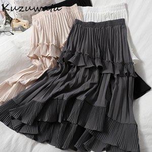 Kuzuwata alta cintura hemile irregular flounting mujeres faldas largas mujeres 2021 nueva primavera falda plisada moda faldas jupe femme j0118