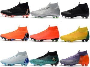 Mercurial Superfly VI XII 360 Elite Ronaldo CR7 FG High Mens Boys Soccer Shoes Fly Kintting Waterproof Football Boots Cleats