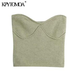 KPYTOMOA Femmes 2020 Mode avec épaules exposées Pull tricoté cultivé Vintage Col de coupe droite Pull féminin Chic Tops