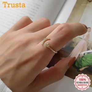 TrustDavis Real 925 Sterling Silver Minimalista Sweet Down Moon Star CZ Anillo de apertura CZ para las mujeres Regalo de joyería de anillo de boda DA16571