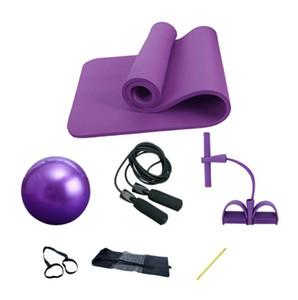 Fitness Gym Tube Resistance yoga mat Latex Pedal Exerciser Sit-up Pull Rope Expander Elastic Bands Yoga equipment 4 set ball Pilates strap