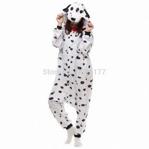 Unisex Adult Tier Dalmatiner Baby Body Pyjamas One-Piece-pickeliger Hund Kostüm Pijama Nachtwäsche Y200425 u6ux #