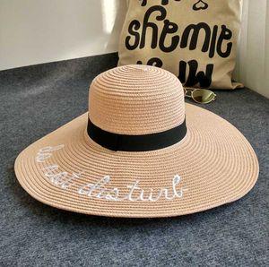 Cllikko venda quente sol aba larga chapéus para mulheres Carta Bordados chapéus de palha meninas Do Not Disturb Ladies Straw