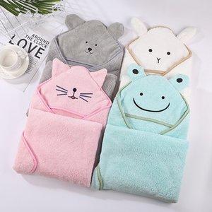 Baby Poncho Bath Bath Towel Младенческие халаты бархата 90 * 90см Флисовый капюшон Детские пляжные полотенца новорожденного ребенка с капюшоном полотенце одеяла