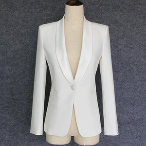 High-end Blazers Office Lady's Slim Shawl Collar Coats 2020 Autumn Designer Women's Solid White Black Outerwear Blazer Clothing
