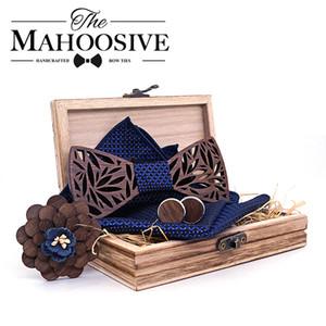 Paisley Деревянного Bow Tie Set носового платок Мужской плед Боути Wood Hollow Резного Вырежьте цветочный дизайн и коробку новизны способ Галстуков