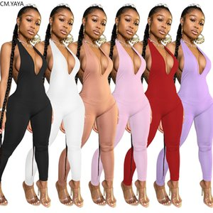 women sexy club night party halter neck open back deep v-neck bodycon sleeveless jumpsuit one piece romper overalls
