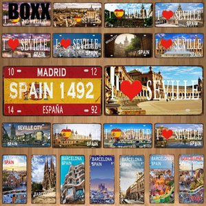 30X15CM Spain City Seville Vintage Metal Sign Barcelona Travel Souvenir Wall Bar Home Shop Decor Plaques Poster